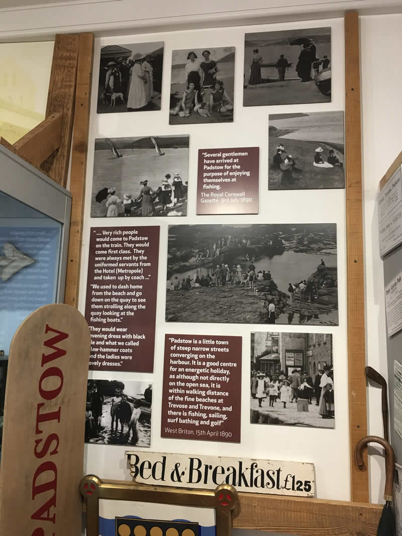 Images taken in Padstow museum of families on holiday with their dogs in the 1800's