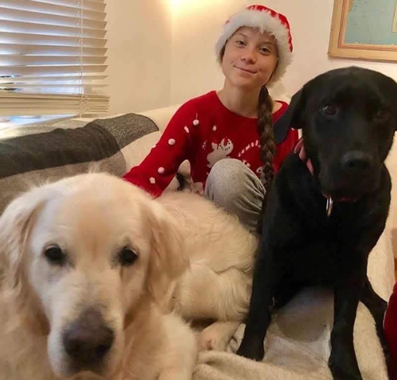 Greta Thunberg and her 2 dogs at christmas