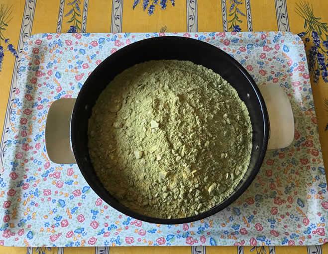 Vegan homemade dog food recipe protein pack in pan