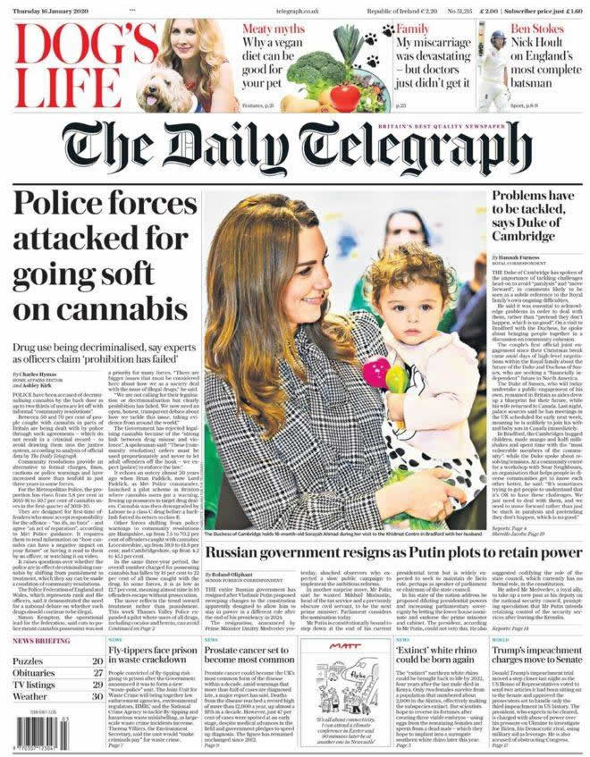 Vegan dog food diet feature on front page of The Telegraph 16th January 2020