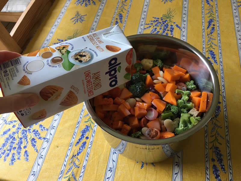 Vegan homemade dog food feed the rainbow recipe made in pressure cooker adding almond milk