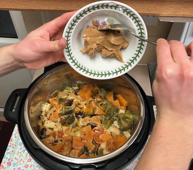 Vegan homemade dog food feed the rainbow recipe made in pressure cooker adding peanut butter
