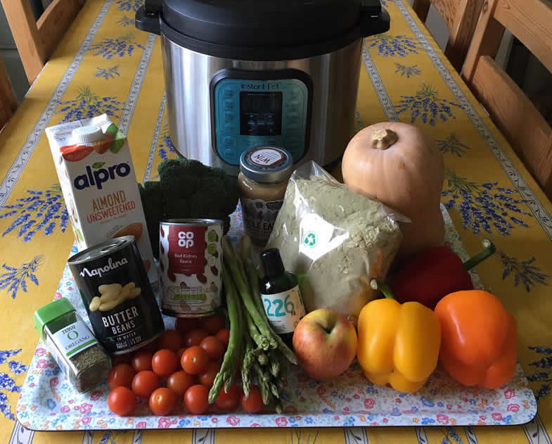 Vegan homemade dog food recipe i-Veg Feed the Rainbow with pressure pot and colourful vegetables and beans