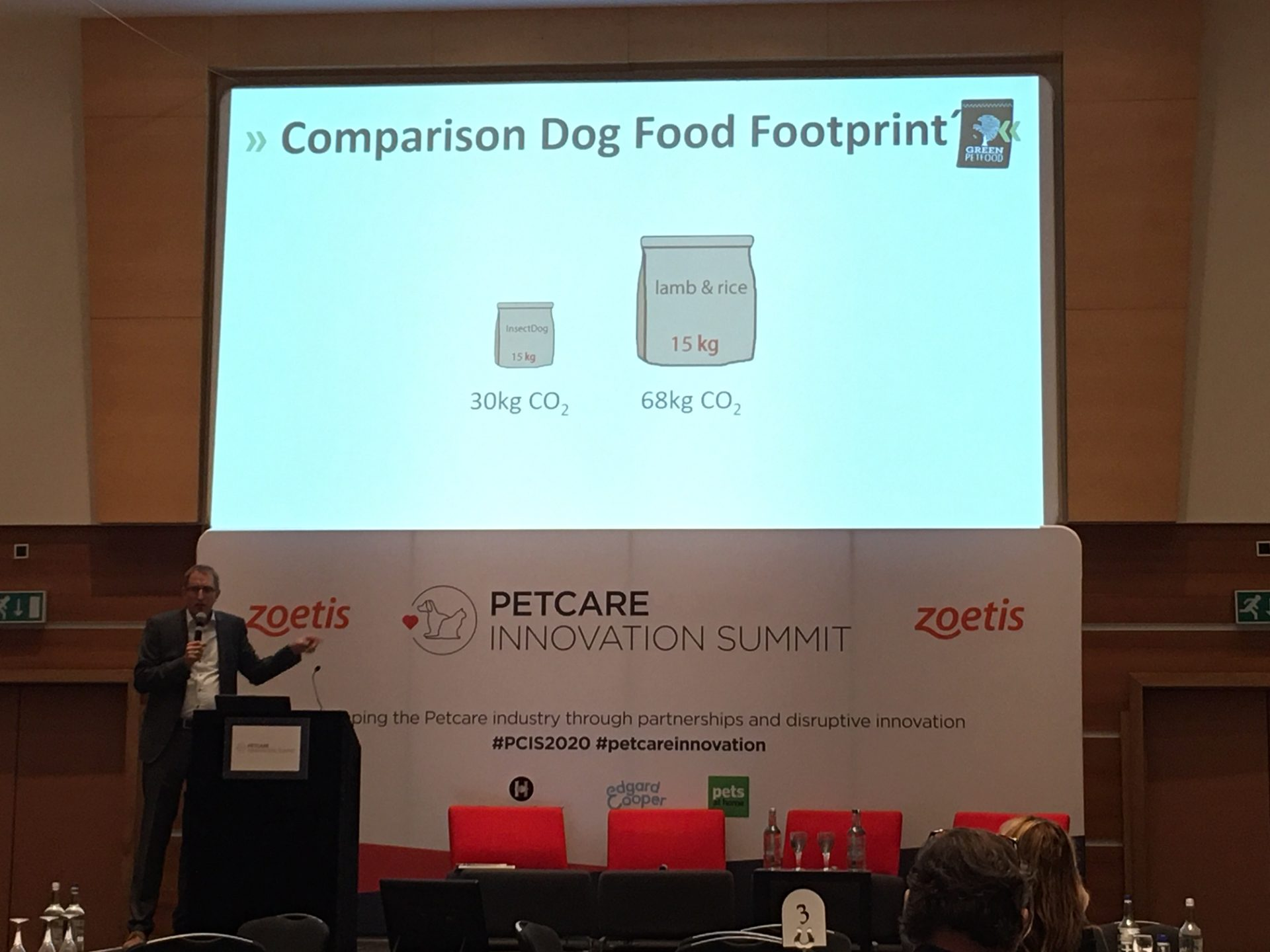 Klaus Wagner owner of Green Pet Food and Veggiepets talking at London Convention