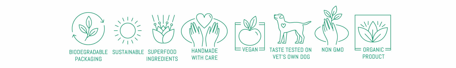 vegan dog food symbols -sustainable, organic, non GMO