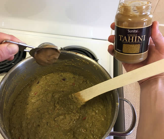 Add 2 tbsp tahini paste to the mashed vegetables, nutrient rich water and protein pack
