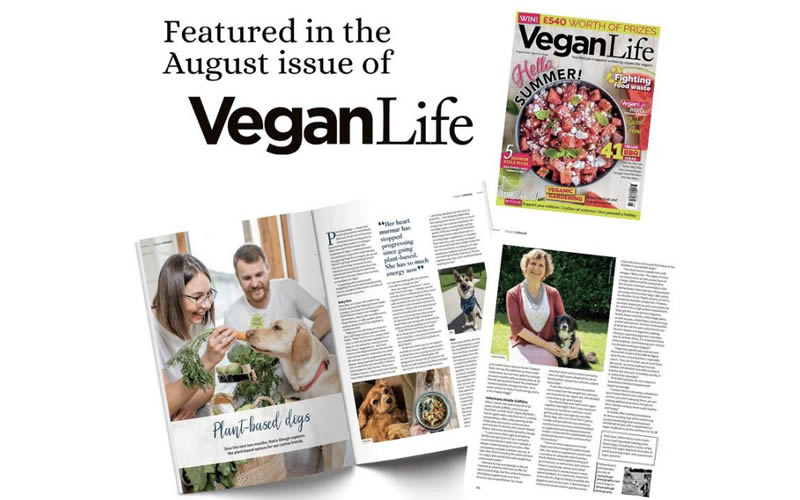 Vegan life August issue featuring plant-based dog articles